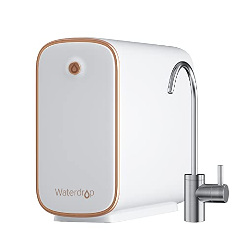 Waterdrop Reverse Osmosis Water Filtration System, Tankless, 400 GPD, Filter Life Reminder, Automatic Flushing, 5 Stage All-in-One Filter, Reduces TDS, 1:1 Pure to Drain, Brushed Nickel Faucet, WD-D4