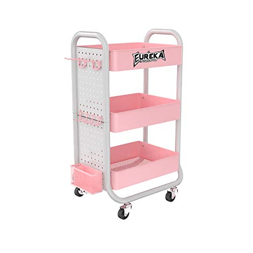 EUREKA ERGONOMIC 3 Tier Rolling Cart, Metal Utility Cart Lockable with Removable Hooks Storage Bins Craft Art Carts for Home Office School Pink Gaming Desk