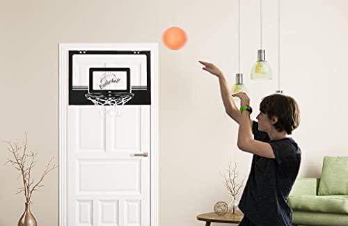 YOLEO Mini Basketballkorb fürs Zimmer, Kinder Indoor Basketballkorb Set mit Ball und Pumpe, Backboard zum an die Tür/Wand hängen, 23cm Ø Ring