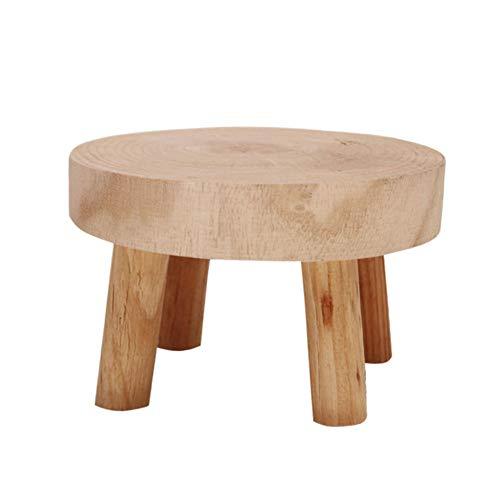 JIESD-Z Mini taburete redondo decorativo de madera en forma de planta, soporte para plantas de madera natural, soporte para macetas, decoración del hogar vintage – 3.5 pulgadas de altura
