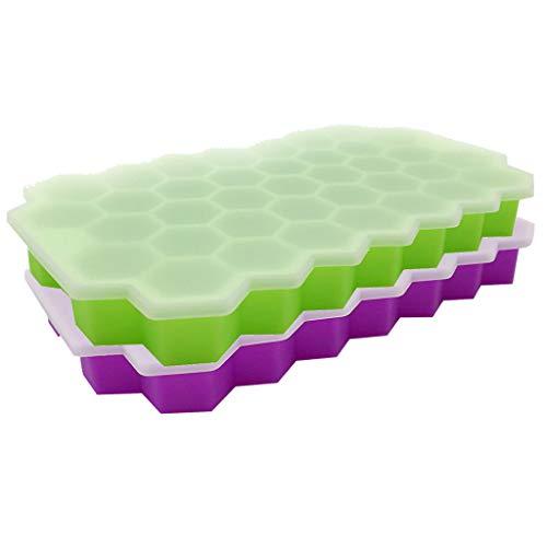Snowlike_Home Faveolate Shape Ice Cube Maker 2Pcs Ice Tray Ice Cube Mold Storage Containers