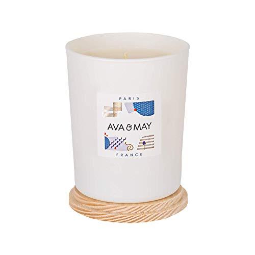 AVA & MAY Paris Duftkerze (180g) – Vegane Kerze im Glas mit edlen Düften von Bergamotte, Jasmin und Rose – Handgemachte Kerze mit lieblicher Eleganz