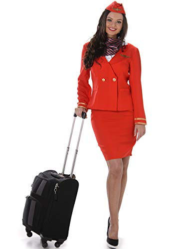 Karnival- Red Flight Attendant Costume Disfraz, Color rosso, large (81049)