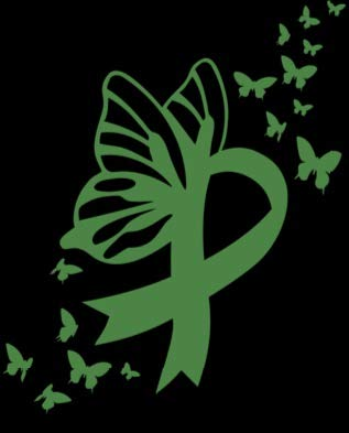 Mental Health Butterfly Ribbon Vinyl Decal | Green | Made in USA by Foxtail Decals | for Car Windows, Tablets, Laptops, Water Bottles, etc. | 3.7 x 4.5 inch