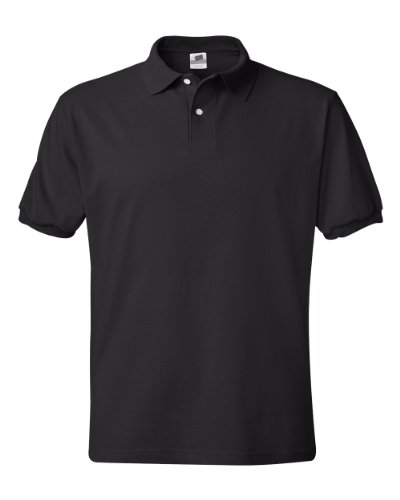 Hanes Men's Cotton-Blend EcoSmart Jersey Polo Black Medium