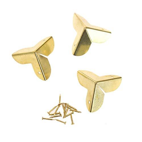 NO LOGO LT-Protector, 12pcs Antique décoratif Bois d'angle Supports Boîte à Bijoux vin Coffre-Fort Cadeau Coin Protecteur W/Scews Bronze/Golden (Couleur : Golden Color 12PCS)