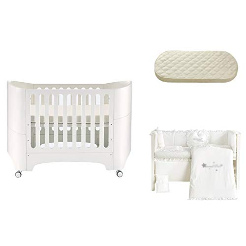 Houten baby European Style Crib Baby-bed Bed Pasgeboren Multifunctionele Classic Children's Bed Convertible Aan 3 posities van de peuter bed Om jonger dan 6 jaar een slaapbank (met matras en beddengoe
