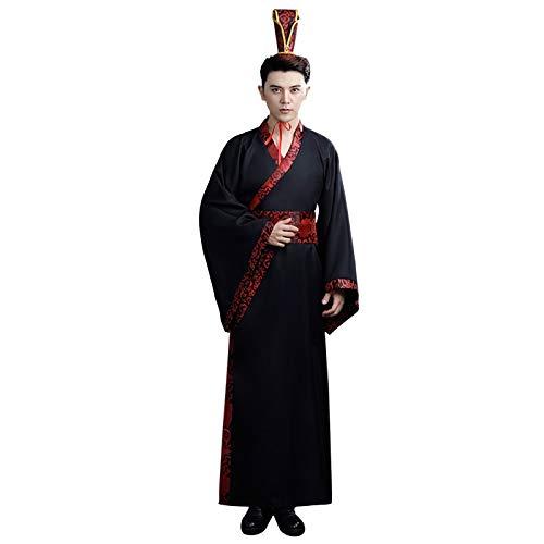 Xingsiyue Chino Hanfu para Hombres - Antiguo Clásico Tradicional Retro Traje Tang Estilo Chino Etapa Rendimiento Disfraz (Negro 2, XL)