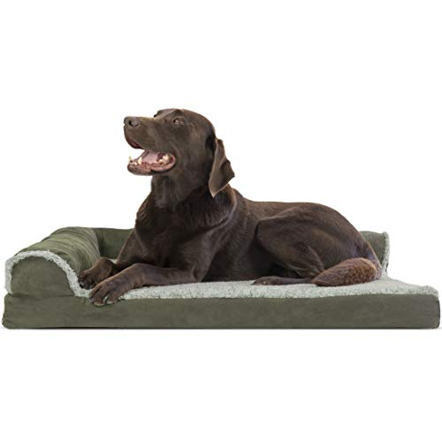 Furhaven Pet Dog Bed - Deluxe Orthopedic Two-Tone Plush and Suede L Shaped Chaise Lounge Living Room...