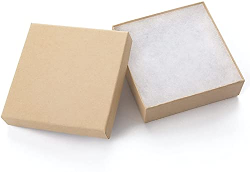Giftol 20 Pack 3.5x3.5x1 Inch Cardboard Jewelry Boxes,Small Gift Boxes for Jewelry Earrings Necklaces Handmade Bangles Bracelets(Brown)