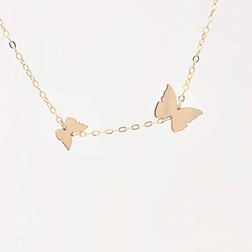 Two CHASING BUTTERFLY Gold Fill Necklace also in Sterling Silver and Rose Gold Fill