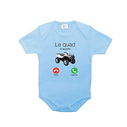 Mygoodprice Body bébé 100% Coton Le Quad m'appelle Bleu 6-12 Mois