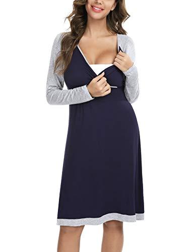 Hawiton Chemise de Nuit Maternité Femme Robe Allaitement Coton à Manches Longues Vêtements Grossesse Coutures Contrastées