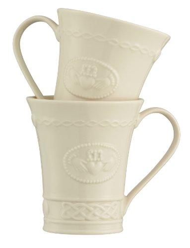 Belleek Group Claddagh Mug, 10-Ounce, Ivory, Set of 2