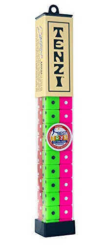 TENZI Dice Party Game  A Fun Fast Frenzy for The Whole Family  4 Sets of 10 Colored Dice with Storage Tube  Colors May Vary