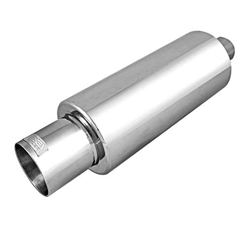 DC Sports EX-5015 Performance Bolt-On Resonated Exhaust Muffler with Clamps and Adapters for Universal Fitment on Most Cars, Sedans, and Trucks - Polished Stainless Steel