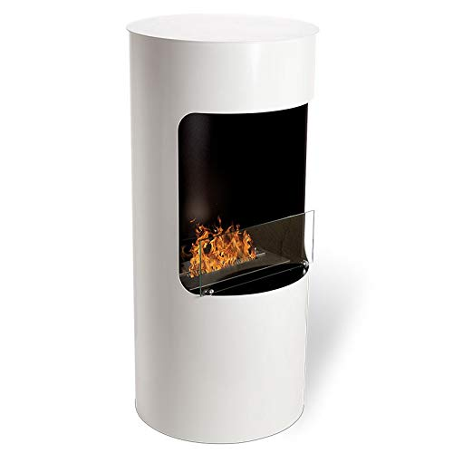 Wikao Leonis - Blanc, cheminée éthanol (poele Bio, a Poser au Sol,Mobile,Nomade)