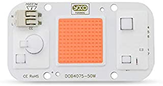50W Solderless AC Led Chip Full Spectrum Plant Grow Light (380nm-840nm / Driver Free / AC110V / 50 Watt) SMD COB Emitter Diode with Thermal Fin for DIY Hydroponic Flowers Growing Lamp (3500K)