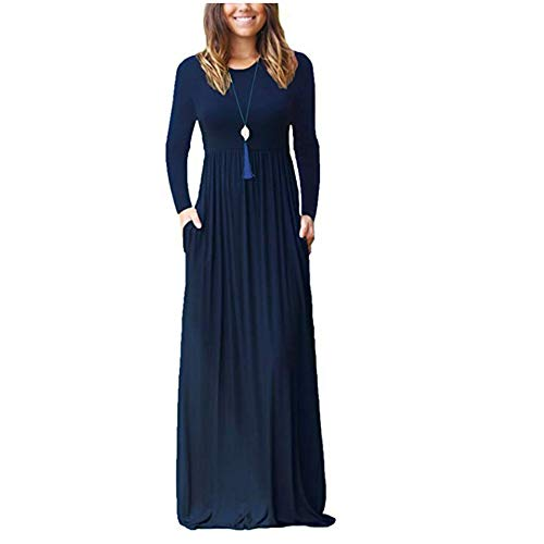 ZNYSTAR Sommer Kleider Damen Casual Lange Kleider mit Taschen T-Shirt Kleid Elegant Solid Color Plissee Lose Strand langes Kleid (XL, Dunkelblau-Langer Ärmel)