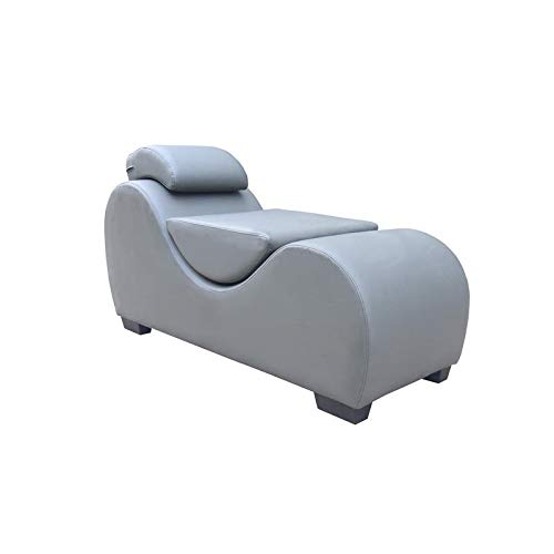 Kingway Furniture Faux Leather Chaise Lounge Chair Indoor with Removable Cushions Headrest Ramp Pillow, Perfect for Yoga Stretching Relaxing, Solid Wood Frame, Stone Gray