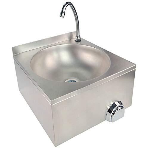 TAIMIKO Handwaschbecken Gastro Seifenspender Edelstahl Waschbecken mit Kniebetätigung 304 Edelstahl (40 x 40 x 24 cm)