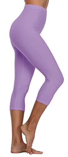 Women's Buttery Soft Capri Leggings High Waisted Yoga Pants,Lilac,Plus 3X-5X