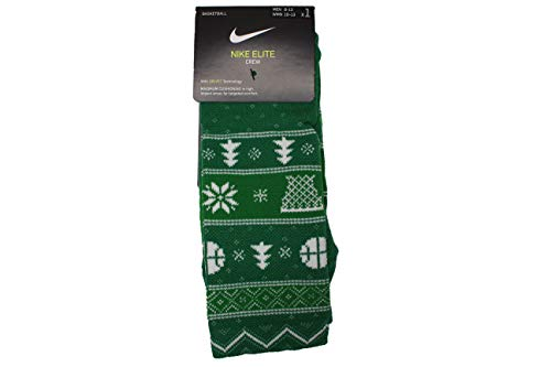 Elite Christmas Crew Basketball Socks Size Men 8-12 Women 10-13