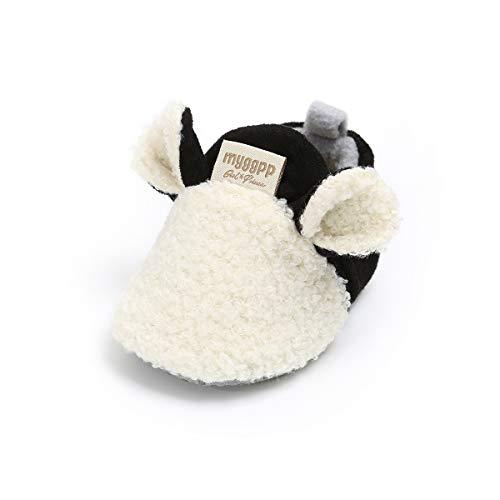 LACOFIA Chaussures Premiers Pas d'hiver pour bébé garçon ou Fille Bottines Chauds antidérapants à Semelle Souple Blanc 12-18 Mois