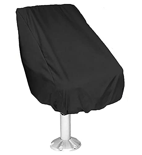 Boat Seat Cover Waterproof Marine Main Engine Speedboat Seat Dust Cover All Season Protection Pontoon Boat Center Console Covers for Fishing Captain's Chair Seats (Black, 22x24x25 in/ 56×61×64 cm)