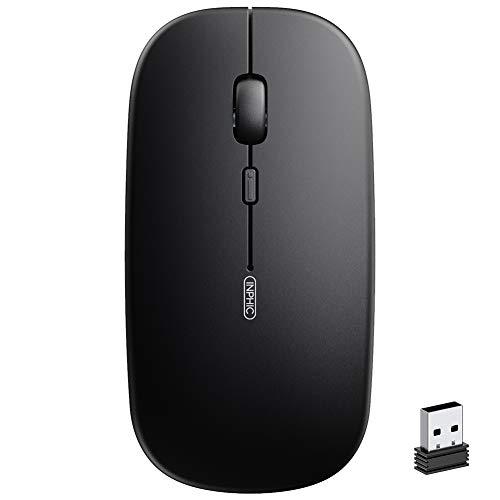 Wiederaufladbare kabellose Maus, Inphic Mute Silent Click Mini optische Computermaus, Ultra Thin 1600 DPI Funkmaus für Notebook, PC, Laptop, Computer, MacBook(Magisches Schwarz)
