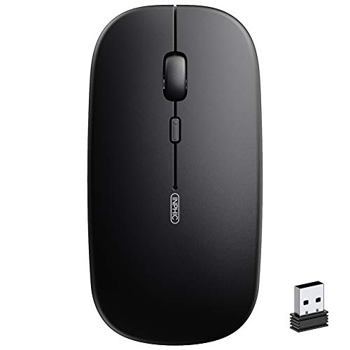 Wireless Mouse for Laptop, Inphic 2.4G Rechargeable Silent Computer Mouse,1600 DPI Ultra Thin Optical Portable USB Mini Mouse, Cordless Mice for Laptop,PC,MacBook,Mac, Black