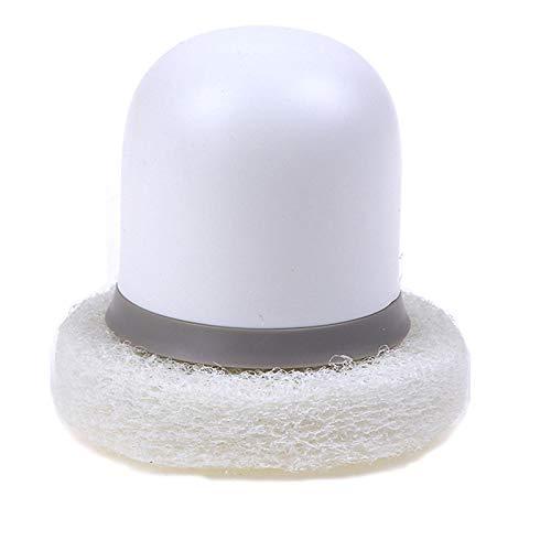 Hogar Cocina Cepillo para Lavar Platos Limpiador de Platos Bloque de Esponja Toallita mágica de óxido Fuerte Esponja multifunción con Cepillo de Mango Blanco