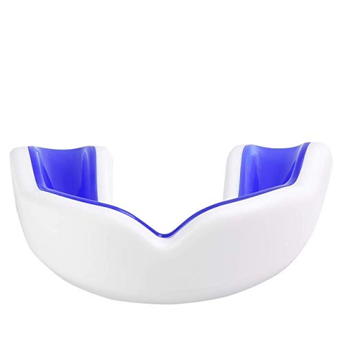 Oral Mart White/Blue Kids Mouthguard for Sports – Youth Mouthguard for Karate, Flag Football, Martial Arts, Taekwondo, Boxing, Football, Rugby, BJJ, Hockey (/w with Case)