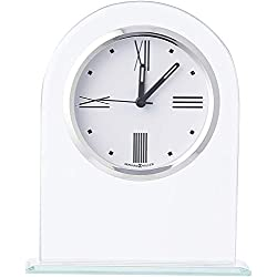 Howard Miller Regent Table Clock 645-579 – Modern Glass Arch with Quartz Alarm Movement