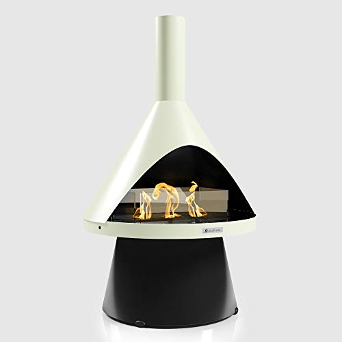 Terra Flame Lloyd Portable Fireplace - Modern Design Freestanding Gel Fuel Fireplace, A Smokeless and Ventless Corner Fireplace for Indoor and Outdoor, Dove Green