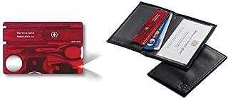 Couteau de poche Victorinox Swisscard Lite (13 fonctions, loupe, lampe LED) rouge translucide & Etui en Cuir pour Swisscard