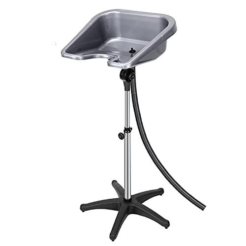 Lavacabezas portátil profesional con desagüe, ajustable y giratorio para lavar el cabello, para salones de belleza y peluquería (plata)