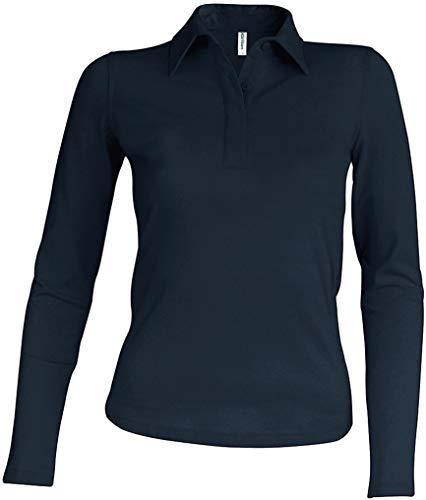 Kariban Damen Piqué Poloshirt Langarm - Dark Grey, L, Damen