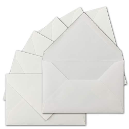 15 Stück C5 Vintage Brief-Umschläge, echtes Bütten-Papier, 16,2 x 22,9 cm, Weiß halbmatt gerippt hochwertige Brief-Kuverts - Original Zerkall-Bütten