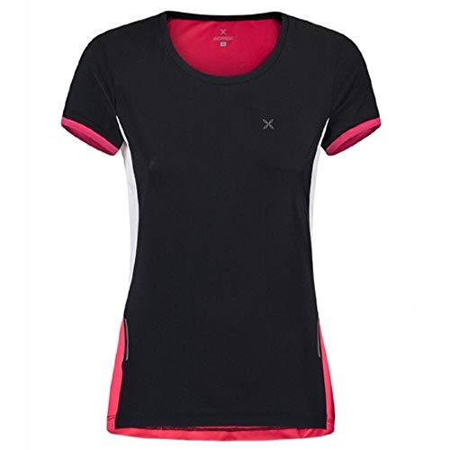 Montura Run Mix - Camiseta para Mujer, Color Negro y Rosa, Color Nero/Rosa Sugar, tamaño Medium