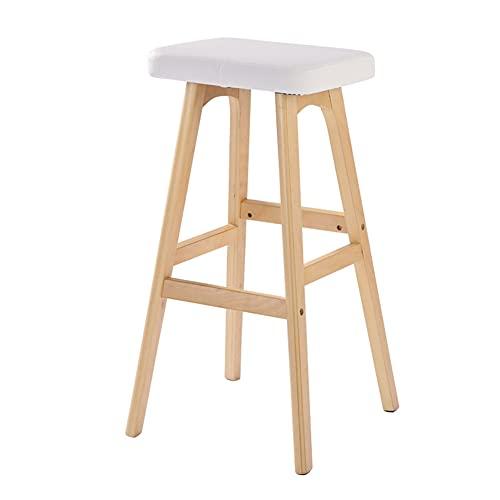WZNING Taburetes Reposapiés de madera maciza, taburete creativo de bar, silla de bar, taburete alto, estilo europeo (color: marco marrón - cuero blanco)