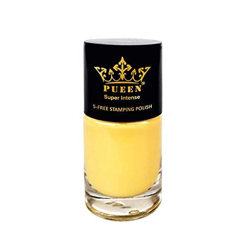 PUEEN Super Intense Nail Polish for Nail Stamping Big 5-Free Formula Nail Color Lacquer (804 - Bright Yellow)-BH000496