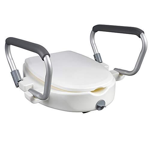 Toilettensitzerhöhung 10 cm Thron mit Armlehnen und Deckel Aufsteckbarer WC-Aufsatz mit zwei Hygieneausschnitte für alle handelsüblichen Toilettenschüsseln