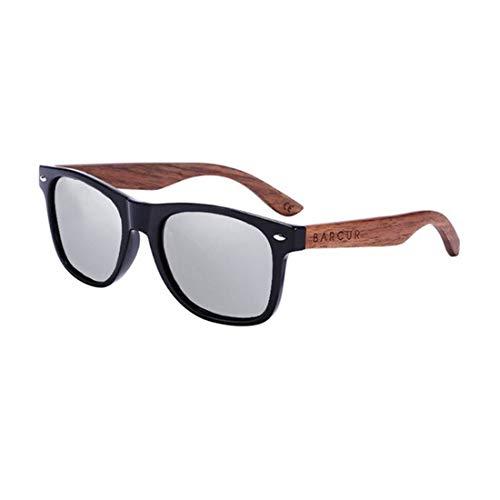 BARCUR Women Men Unisex gafas de sol Acetate, Walnut Wood Polarized, UV400, Anti-Reflective BC8700