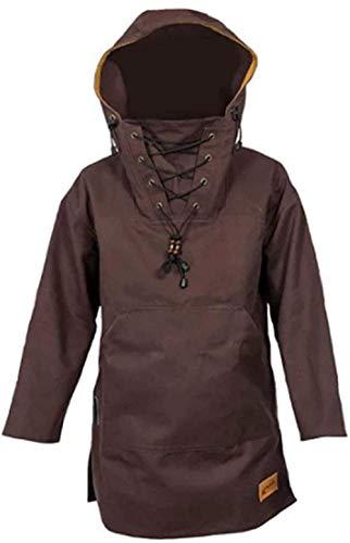 Abrigo pesado de lana para hombre con capucha y forro polar de manga larga para invierno, para mantener caliente y resistente al viento, color marrón