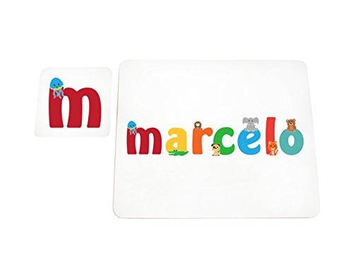 Little Helper LHV-MARCELO-COASTERANDPLACEMAT-15IT Dessous de verre et sets de table avec finition brillante, personnalisés pour garçons Nom Marcelo, multicolore, 21 x 30 x 2 cm