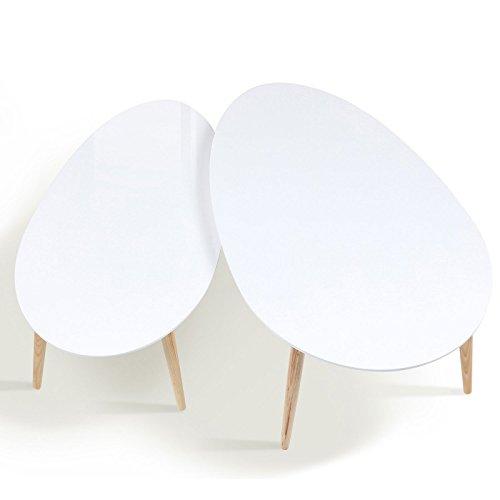 IDMarket - Lot de 2 Tables Basses gigognes laquées Blanc scandinave