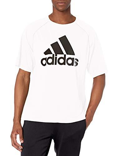 adidas mens Short Sleeve Clima Tee White/Black Medium
