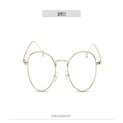 SenDi Occhiali da sole - Occhiali da sole con montatura circolare, occhiali da vista, letterario, occhiali da vista, montatura dorata