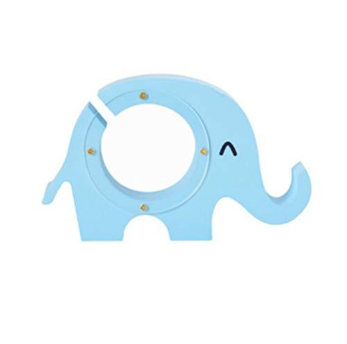 Kassa MYKK Pastorale stijl Houten kleine olifant Transparante spaarpot Vintage Desktop Gift 15 * 9 * 3cm Blauw